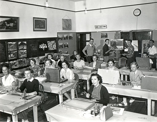 J. B. Taylor and class, 1953, Banff School of Fine Arts (Class held in public school classroom).
