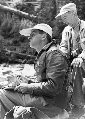 J. B. Taylor sketching with art class at Marble Canyon, 1952, Banff School of Fine Arts.
