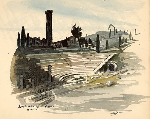 J. B. Taylor - Amphitheatre, Fiesole, March 1956, Ink and watercolor on paper, 20 x 25 cm.