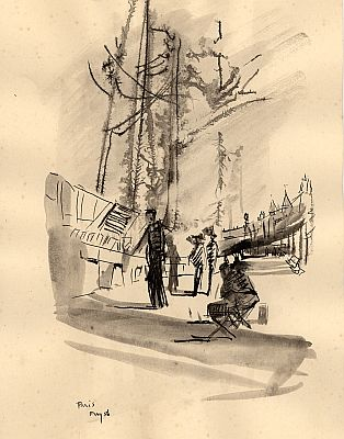 J. B. Taylor - Paris, France May 1956, Ink on paper, 19 x 15 cm.