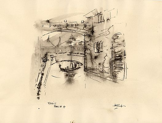 J. B. Taylor - Venice, March 1956, Ink on paper, 15 x 19 cm.