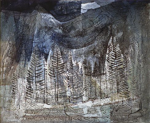 J. B. Taylor - Larch Valley, 1963, Mixed media on canvasboard, 51 x 61 cm.