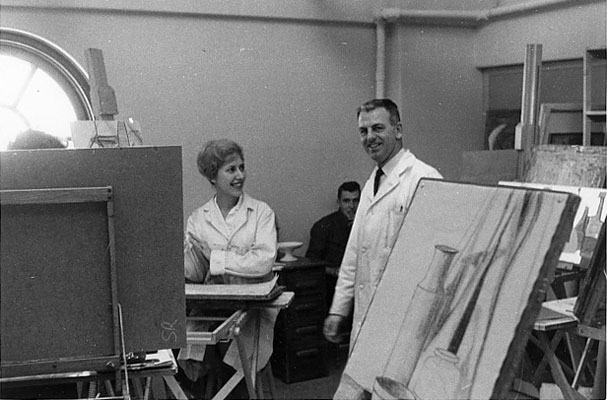 J. B. Taylor in University of Alberta painting class (1), 1961.