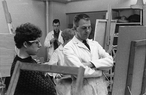 J. B. Taylor in University of Alberta painting class (2), 1961.