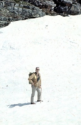 J. B. Taylor hiking to Lake Opabin, c.1968.