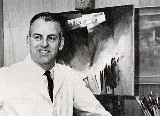 J. B. Taylor painting in his home studio, c.1968.