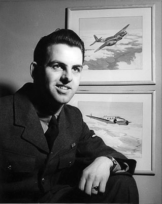 LAC J. B. Taylor and two gouache paintings of allied aircraft. c.1945.